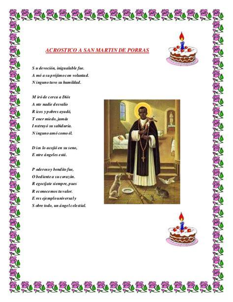 Acrostico De San Martin De Porres | biografia de fray martin de porres