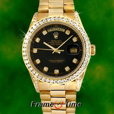 rolex mens president day date 18k gold black