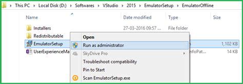 xamarin offline tutorial now run above setup file name is emulatorsetup and you