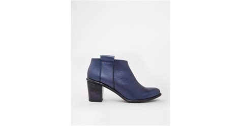 miista anais low cut leather heeled ankle boots in blue lyst