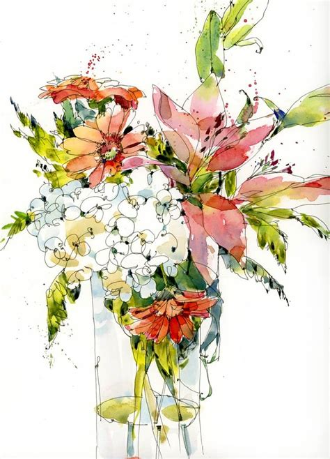 25 best ideas about pen and wash on flower painting with watercolors and