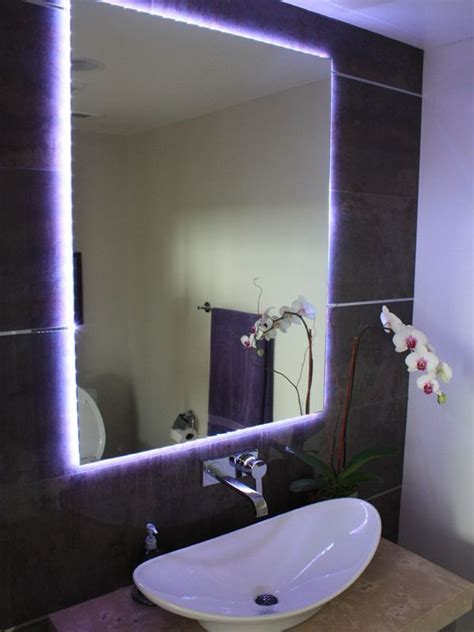 bathroom mirror with lights behind different ways in which you can use led lights in your home