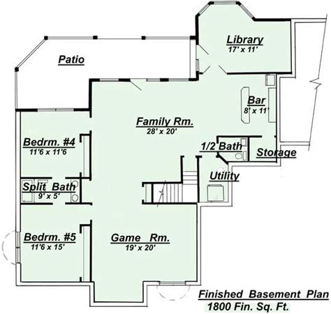 Open Floor Plans With Basement Ranch Style Open Floor Plans With Basement Areas Colored In Green Represent Living Space Areas
