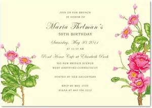 birthday brunch invitation camellia flower fifty brunch birthday invitations hpbp173 hpbp173