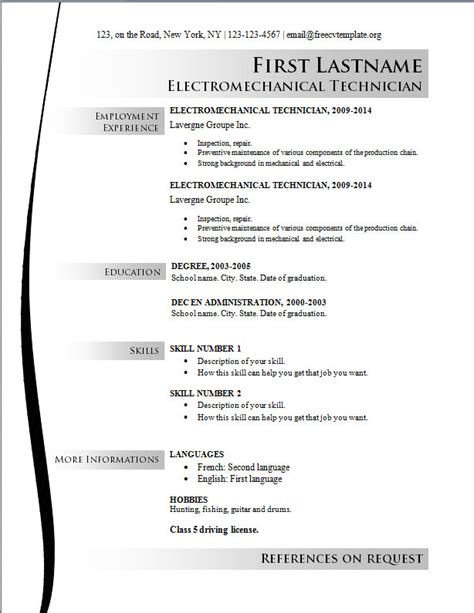 basic resume template free 10 using resume template free writing resume sle