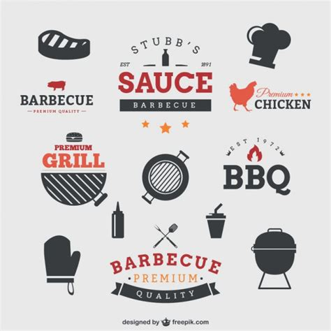 Barbecue badges Vector   Free Download
