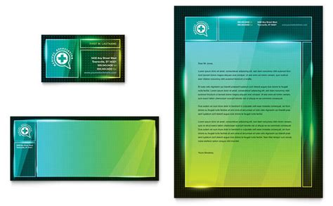 medical conference business card letterhead template design