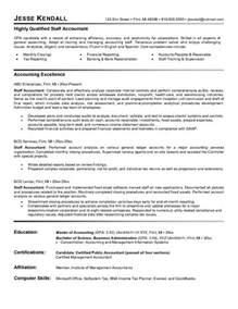 staff auditor resume sle free staff accountant resume exle