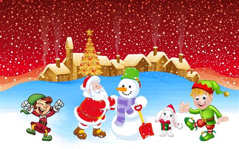 christmas winter santa making snowman joy    snow christmas wallpaper hd