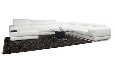 wynn sectional and ottoman white leather sectional divani casa cypress modern white