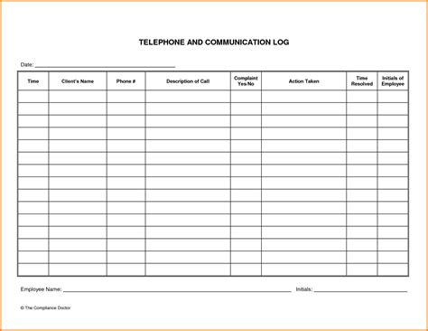 communication record template contact log template images
