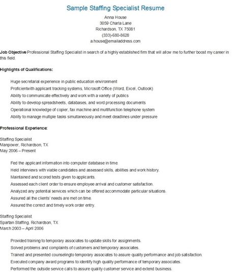 Staffing Specialist Resume by Sle Staffing Specialist Resume Resame Resume And Ps