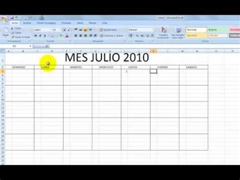 crear calendario en excel como hacer un calendario en excel youtube