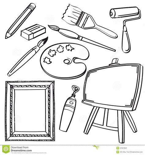 drawing tools collection stock illustration illustration
