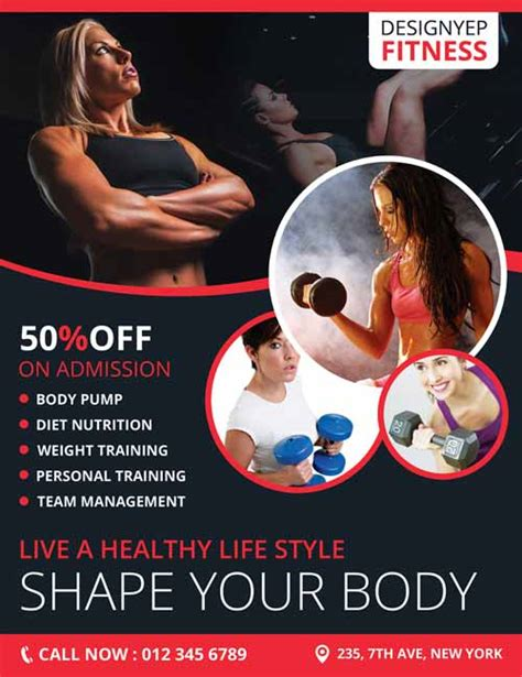 Freepsdflyer Download Fitness Club Gym Free Flyer Psd Template Fitness Poster Template Free