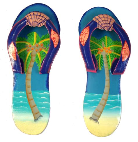 Flip Flop Wall Decor by Tropical Flip Flop Palm Tree Hatian Metal Wall Decor