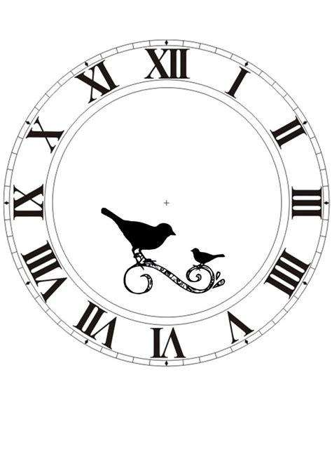 printable paper clock face clock face printable with birds printables transfers