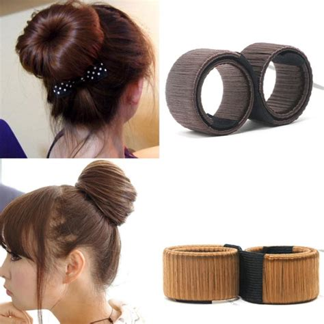 elderly long hair french bun wig 1pc synthetic wig donuts bud head band ball french twist