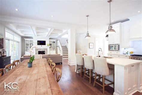 open concept kitchen living dining the room except i would stools at the island