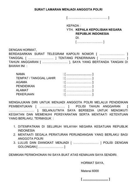 Contoh Surat Lamaran Kerja Menjadi Anggota Polri Polwan