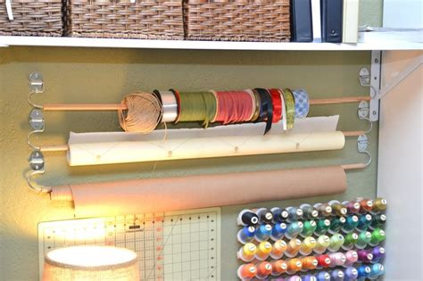 Craft Paper Dispenser - diy wall mounted wrapping paper ribbon holder