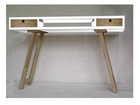 Bureau Vintage Design Style Scandinave Blanc Et Bois Bureau Blanc Et Bois