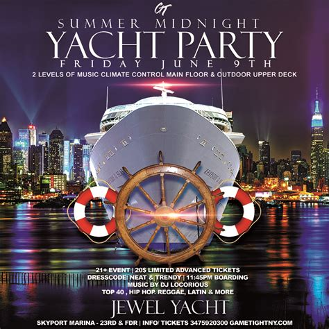 boat ride party in nyc summer midnight yacht party at skyport marina jewel yacht