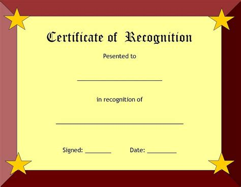 certificate of recognition template printable blank certificate template word calendar