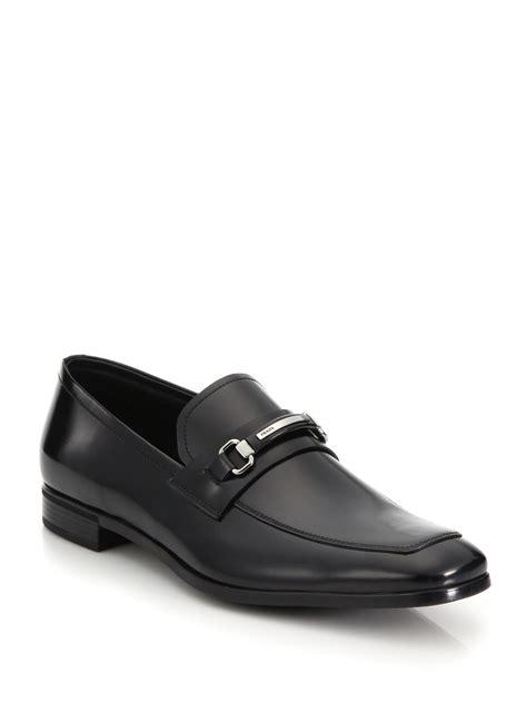 prada bit loafer prada spazzolato leather bit loafer in black for lyst
