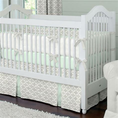 gray and mint bedding french gray and mint quatrefoil crib bedding french