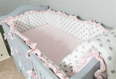 Gray Polka Dot Crib Bumper by Deanna Pappas Stagliano S Soft Gray And Pink Nursery