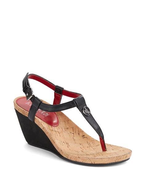ralph wedge sandals by ralph reeta wedge sandals in black lyst