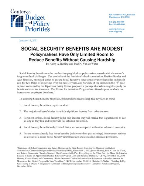 Hardship Allowance Letter Social Security Benefits Are Modest Center On Budget And Policy Priorities