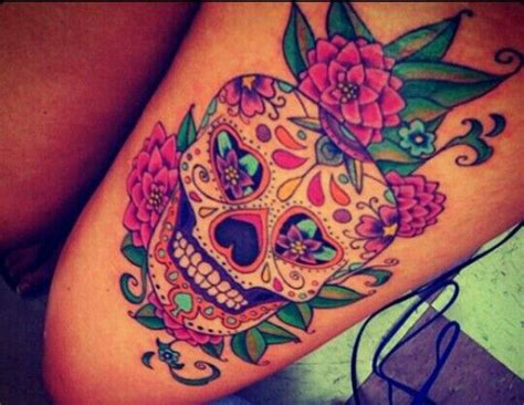 sugar skull thigh tattoos sugar skull tattoos