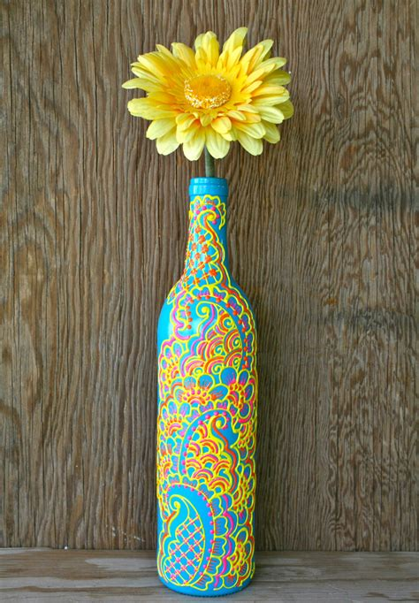 decorated wine bottles hand painted set of wine bottles hand painted wine bottle vase turquoise bottle with by