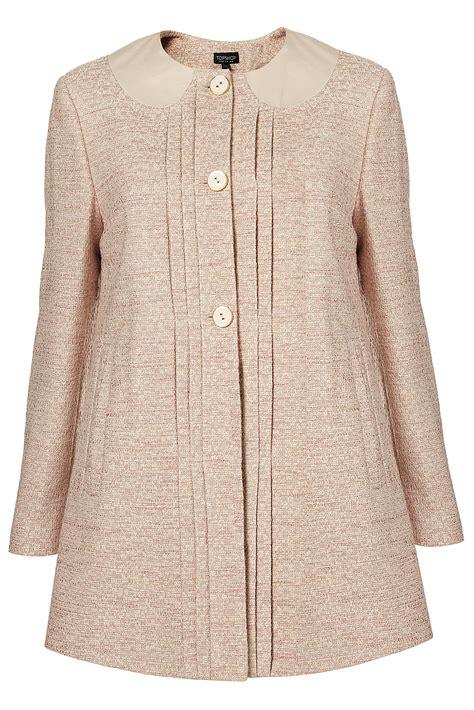 Topshop Lightweight Tweed Swing Coat In Pink Pale Pink