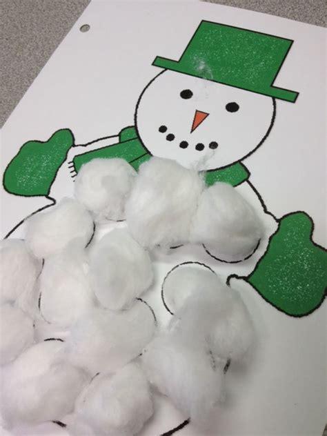Cotton Ball Snowman Printable Template | speech snowmen activity tailor