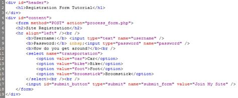 form design code in html creating processing a registration form with html php part 2