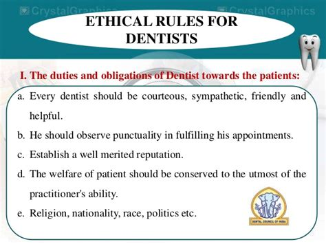 Responsibilities Of A Dentist by Dentist Act Of India Dci Ida