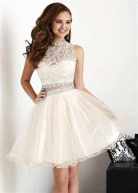 Dress Puff Trendy 2015 trendy two white chagne beaded lace homecoming dress s16