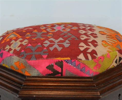 Colorful Ottomans For Sale Upholstered Style Octagonal Ottoman With Colorful Anatolian Kilim Cover For Sale At 1stdibs