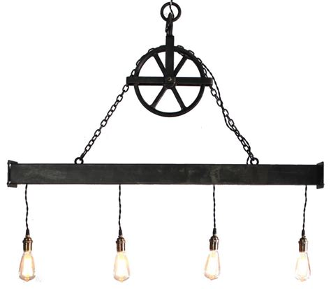 Handcrafted Chandeliers Handcrafted 4 Light Steel Beam Chandelier With Hanging Pulley Industrial Chandeliers By