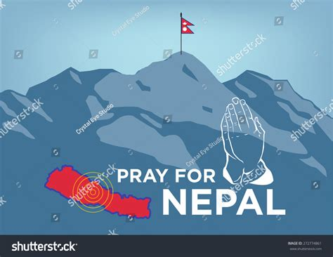 nepal map vector pray nepal earthquake crisis concept showing stock vector