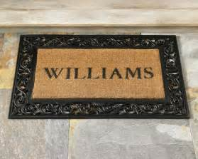 rubber scroll doormat personalized rubber scroll coir doormats williams sonoma