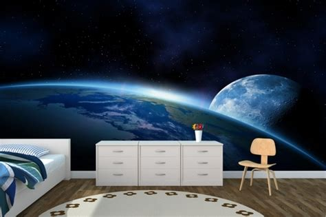 outer space bedroom wallpaper earthly room design pictures photos and images for