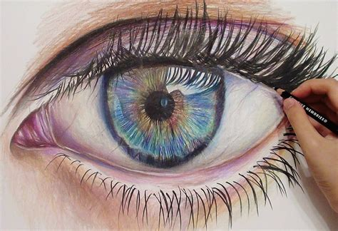 how to draw with colored pencils drawing a realistic eye with colored pencils time lapse