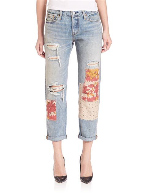 Levi S Patchwork - levi s 501 ct distressed patchwork crop rolled boyfriend