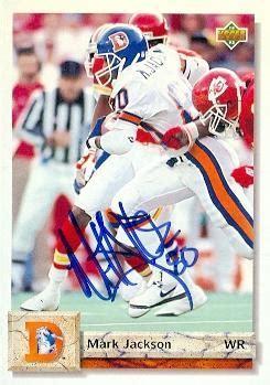mark jackson denver broncos mark jackson autographed football card denver broncos