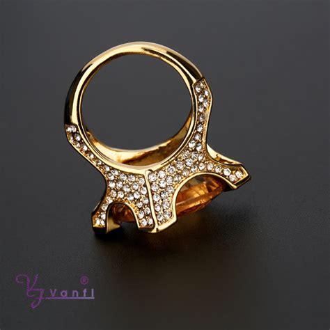2015 dubai 18k gold plated gemstone ring big yellow
