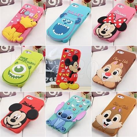 Hv8406 Iphone 5 5s Minnie Mouse Disney Silicone Rubb Kode Bis8460 3d stitch minnie mouse disney silicone cover for